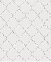 Nordic Elegance trellis wit/zilver behang (vliesbehang, zilver)