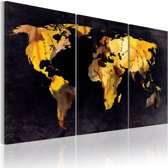 Schilderij - De Wereld kaart - drijfzand