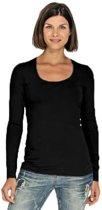 Bodyfit dames shirt lange mouwen/longsleeve navy blauw - Dameskleding basic shirts S (36)