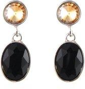Mooie ovale oorhangers Crystal - Ovaal - Oorbellen - Earrings Brown Black 3x1,5 cm - Bruin en Zwart - Musthaves