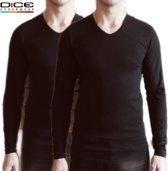 2-pack DICE Underwear Longsleeve shirts V-hals zwart maat XL