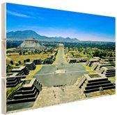 Teotihuacan  Mexico Hout 120x80 cm - Foto print op Hout (Wanddecoratie)