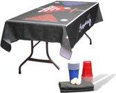 Beer pong Tafel kleed + Cups Pakket - Herbruikbaar - Beerpong Tafelkleed - 10 Red & Blue Cups - 3 Pingpongballen