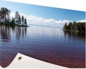 Zicht op het meer in de zomer Tuinposter 120x80 cm - Tuindoek / Buitencanvas / Schilderijen voor buiten (tuin decoratie)