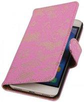 Samsung Galaxy Note 4 Hoesje Bloem Bookstyle Roze