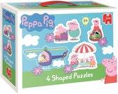 Peppa Pig 4 in 1 - Gevormde Puzzel - 3,6,9 en 12 stukjes