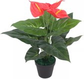 Kunst anthurium plant met pot 45 cm rood en geel (incl. Fotolijst)