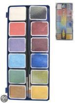 Aqua schminkpallet 12 metallic kleuren