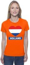 Oranje Holland hart vlag shirt dames M