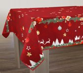 Tafelkleed anti-vlek Noël rouge 300 x 150 cm