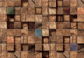 Fotobehang Wood Blocks Texture Brown   XXL - 206cm x 275cm   130g/m2 Vlies