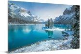 Winterlandschap in het Nationaal park Jasper in Noord-Amerika Aluminium 90x60 cm - Foto print op Aluminium (metaal wanddecoratie)