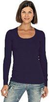 Bodyfit dames shirt lange mouwen/longsleeve zwart - Dameskleding basic shirts S (36)