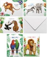 Love & friends kaartenset met envelop - 10 handgeschilderde liefdes- en vriendschapskaarten - tropisch - dieren - dubbele wenskaarten - A6 formaat