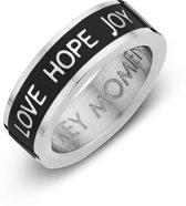 Color 8KM - Stalen Ring met Tekst - Love Hope Joy - Ringmaat - Zilverkleurig
