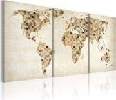 Schilderij - De Wereld kaart - pleinen, Multi-gekleurd, 2 Maten, 3luik