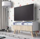 TV kast dressoir Siena met LED verlichting wit licht eiken