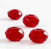 Facetglas links afm 9x14 mm gatgrootte 4 mm rood 4stuks