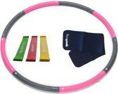 Hoelahoep 1.4 kg + Waist trimmer + Mini bands roze/grijs