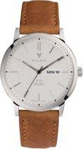 Renard Elite Day Date Silver Amber RD381SS10AMB - Horloge - Leer - Bruin - 38,5mm