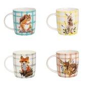 GINGER Forest Life Ceramic Mugs - set 4 grote mokken