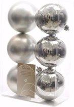 Kerst kerstballen zilver 6 cm Elegant Christmas 6 stuks
