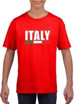 Rood Italie supporter t-shirt voor heren - Italiaanse vlag shirts XS (110-116)