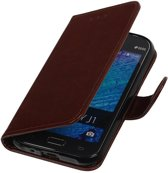 Samsung galaxy j1 2015 J100F Bruin   TPU bookstyle / book case/ wallet case Hoes    WN™