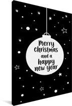 Leuk kado voor kerst - Merry christmas kerstbal zwart canvas 40x60 cm
