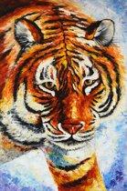 Schilderij tijger 60x90 Artello - Handgeschilderd - Woonkamer schilderij - Slaapkamer schilderij - Canvas - Modern - Dieren