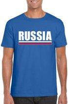 Blauw Rusland supporter t-shirt voor heren - Russische vlag shirts L