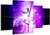 Canvas schilderij Dansen | Paars, Wit | 160x90cm 4Luik