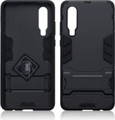 Qubits - Double Armor Layer hoes met stand - Huawei P30 - Zwart