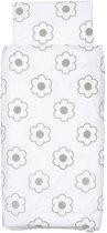 Jollein Little Naturals - Organic Flower Dekbedovertrek 100x140 cm - Grijs