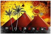 Schilderij - Afrika, de piramides, geel/rood, 1 deel