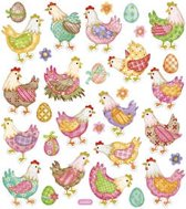 Stickers vel 15x16 5 cm circa 31 stuk kippen 1vel