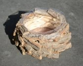 Bloempot - Plantenbak - Basket Barkslice - Bruin - Boomschors - Incl. Binnenbakje