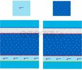 Lief! Stoer! Lifestyle Dekbedovertrek Blauw – 150x120x2cm | Hoeslaken met Blauwe Sterren | Beddengoed | Lakens
