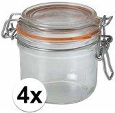 4x stuks Weckpotten/inmaakpotten met klepdeksel 0.2 liter