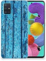 Samsung Galaxy A51 Bumper Hoesje Blauw Wood