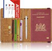 Paspoorthoesje / Paspoorthouder - V2 - Houtpatroon Bruin