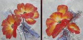 Tweeluik 60x60cm Oranje bloemen