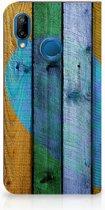 Huawei P20 Lite Standcase Hoesje Wood Heart
