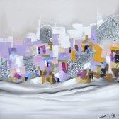 Schilderij pastelkleurig abstracte 100x100