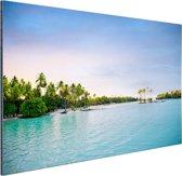 Palmbomen in de tropische oceaan Aluminium 90x60 cm - Foto print op Aluminium (metaal wanddecoratie)