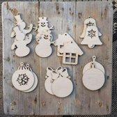 Kerstboom versiering hout | Houten Kerstballen | Kerstversiering figuren | Zelf in te kleuren Kerstfiguren van Hout | 14 stuks | DIY | Kerst 2019 | Kerstmis Versiering | Handgemaakt in Nederland | Circa 8x9cm | Scandinavische kerst | Houten figuren