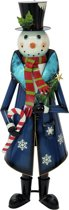 Europalms Snowman met Coat, metaal, 150cm, blauw