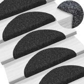 Trapmat zelfklevend trappenmat trapmatten set 15delig zwart 54x16x4cm