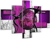 Glasschilderij Abstract | Paars, Zwart, Wit | 100x70cm 5Luik | Foto print op Glas |  F003484