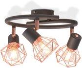 Plafondlamp met 3 spotlights E14 zwart en koper